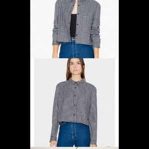 American apparel cropped black white flannel m